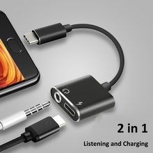 USB Type-C Audio Charging Adapter 2 in 1 Type C Male to Female 3.5mm Headphone Jack + Converter For Port Phones