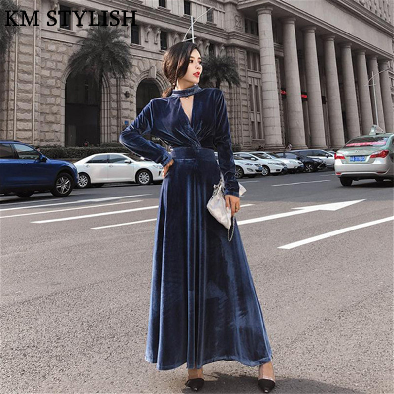 2019 Fall/Winter New Velvet Large Swing Cutout Waist Midi Dress Temperament Feminine Long Sleeve Solid Color Black Maxi Dress