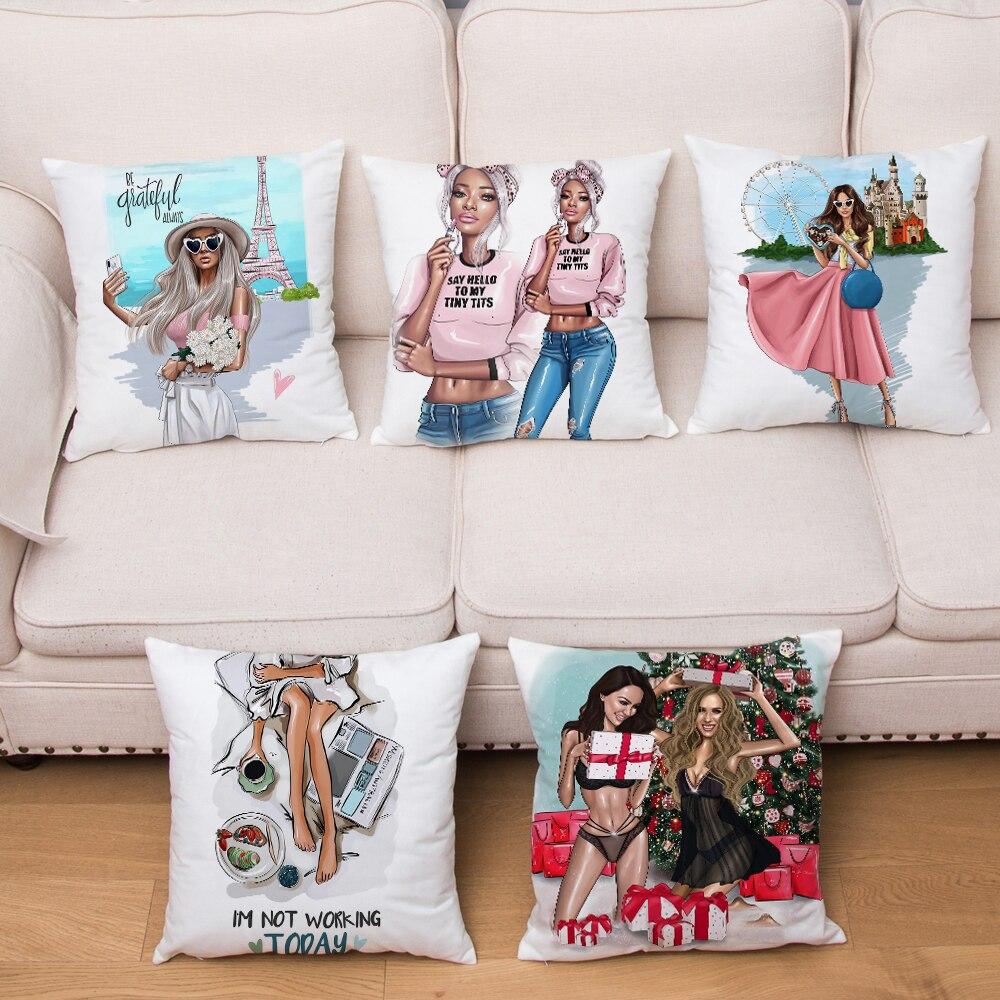Super Soft Short Plush Fashion Cute Cartoon Sexy Girl Cushion Cover Pillowcase Decor Print For Sofa Home Car Pillow Case 45x45cm