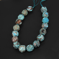 15 5inches Strand Sky Blue Ocean Jasper Large Stones Faceted Nugget Beads Necklace 20 25mm Big