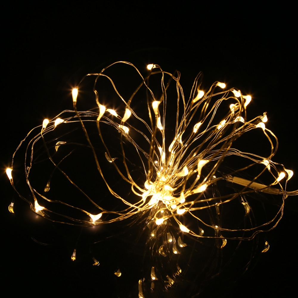 5M 50leds LED String Light Silver Wire DC4.5V 3XAA Batteridriven - Festlig belysning - Foto 4