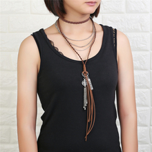 цены 2017New Fashion Bohemian Jewelry Leather Rope Alloy Clavicle Necklace Casual Vintage Punk Manual weaving rope necklace