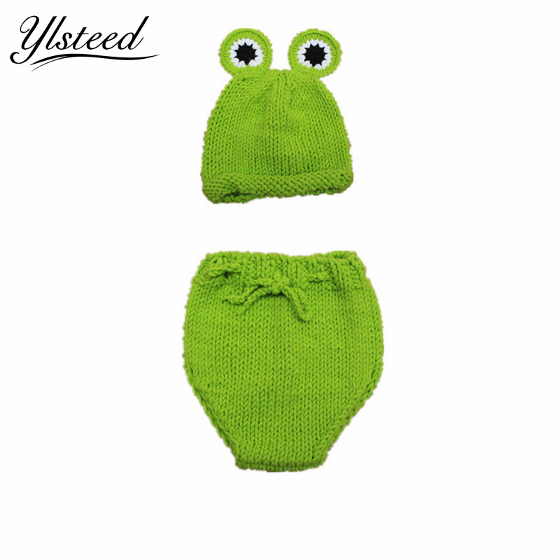 Cartoon Baby Hat Set Crochet Knit Infant Green Frog Beanies Baby Photo Costume Accessories Newborn Photography Props Baby Gift