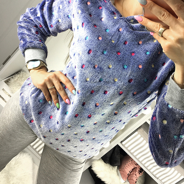 Women Winter Sweater Fit Charming Sweater Long Sleeve Hooded Dot Multicolor Pullover Blouse Casual Outwear Poncho S/M/L/XL