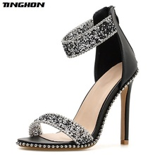 TINGHON Fashion Bling bling Crystal Embellished Sexy Sandal for Woman Rome Style Open Toe Ankle Strap High Heel Shoes Sandals bling bling crystal newest fashion women shoes cheap price hot selling new design ankle open toe sandals gladiator nude jeweled