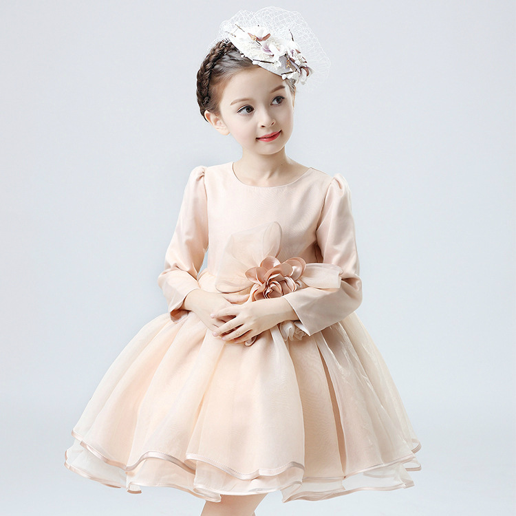Children's Clothing Autumn Girls Princess Long-sleeved Flower Dress Show Costumes Kids Clothing Mesh Bow Pink girls europe the united states children princess long sleeved purple lace flower dress female costume kids clothing bow purple