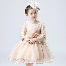 Детская Одежда Осень Девушки Принцесса С Длинными рукавами Платье Цветок Шоу Костюмы Детская Одежда Сетки Лук Розовый