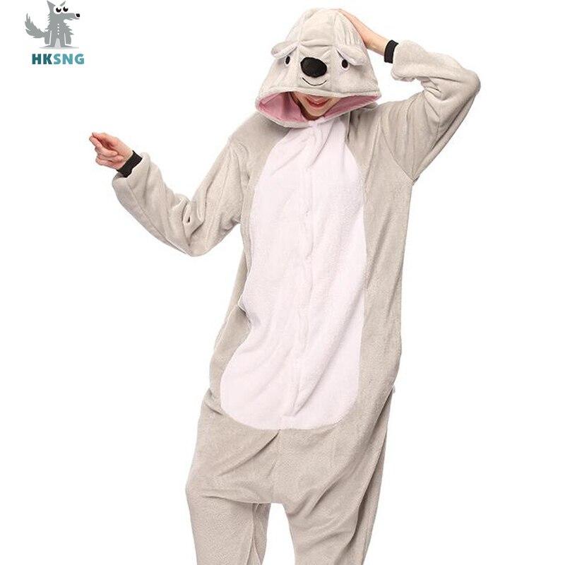 Hksng унисекс животных для взрослых Серый Коала Kigurumi пижамы высокое  качество фланель мультфильм Семья вечерние Комбинезоны 451895cb869c6