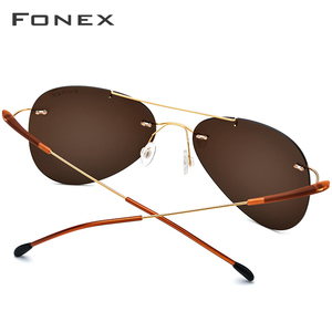 Image 4 - FONEX Titanium Alloy TR90 Rimless Sunglasses Men Ultralight Screwless Women Pilot Aviation Polarized Sun Glasses for Men 851