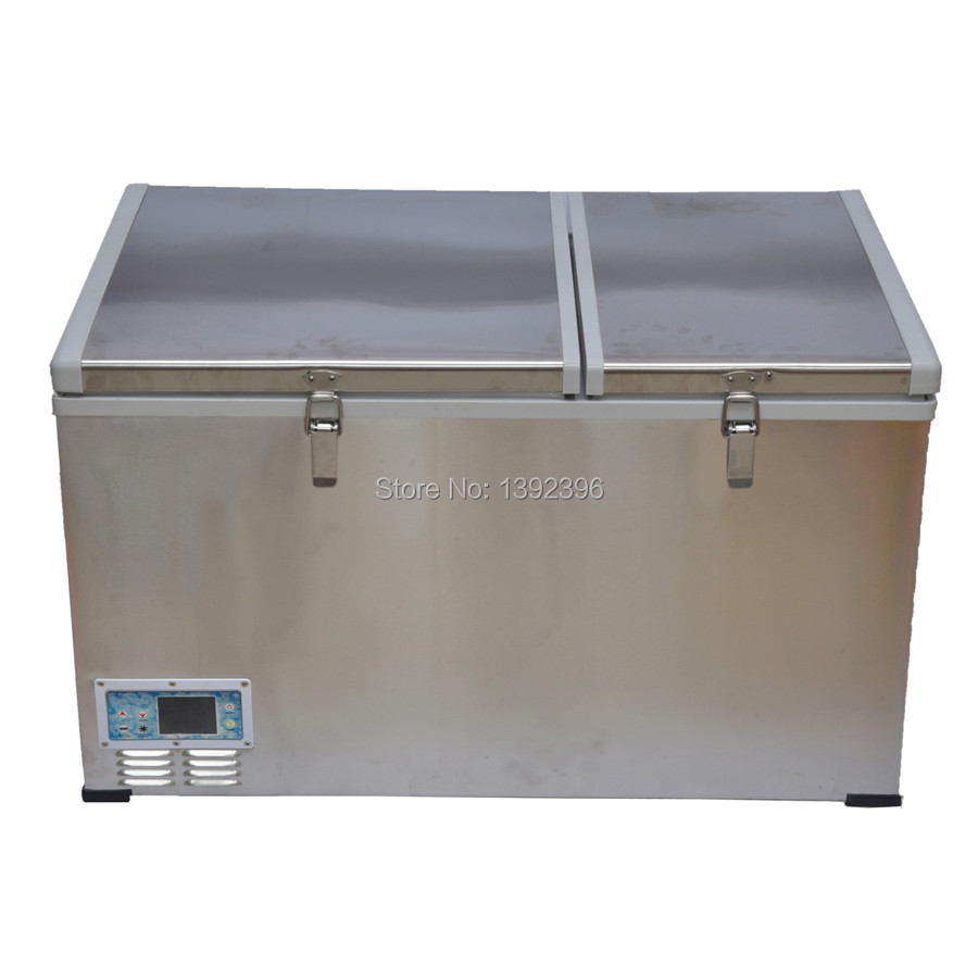 US $768 25 |125L outdoor compressor refrigerator freezer dc 12v or 24v  fridge with double door different refrigeration systems-in Refrigerators  from