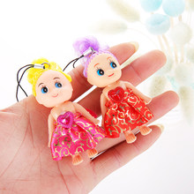 Colourful 8CM Summer Style Mini Dress Doll Pendants lol Dolls Reborn Baby Desk Decor Keychain For Girls Messi Ronaldo(China)