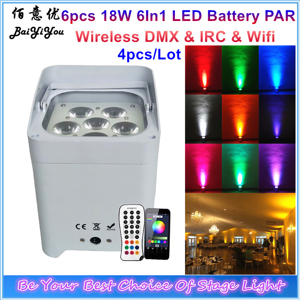 Colorful Background Up Lighting 6x18w 6 In 1 LED Battery Wireless DMX IRC Wifi Phone App
