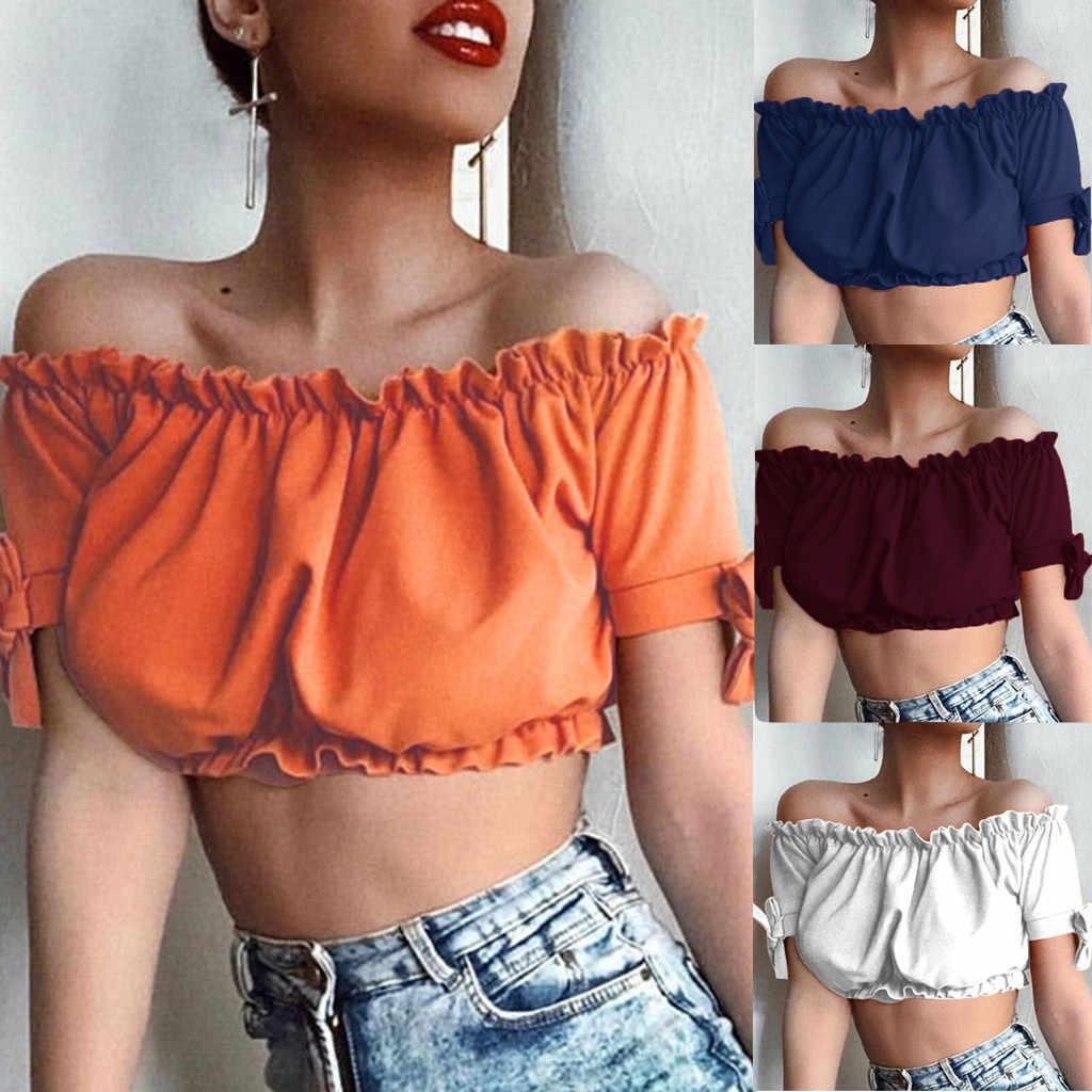קיץ נשים שיפון אופנה Boho אופנה נשים סקסי להתנפנף טהור צבע קשת כבוי כתף חולצות camiseta mujer #3
