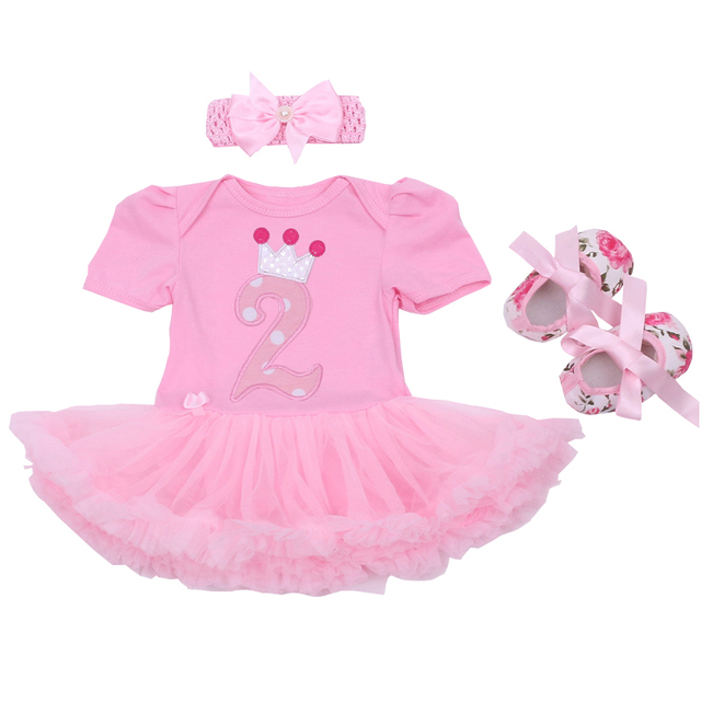 b1d155e1d Baby Rompers Cotton Infant Clothing Set Baby Girls Pink 1st 2rd Birthday  Tutu Dress Jumpsuit Headband
