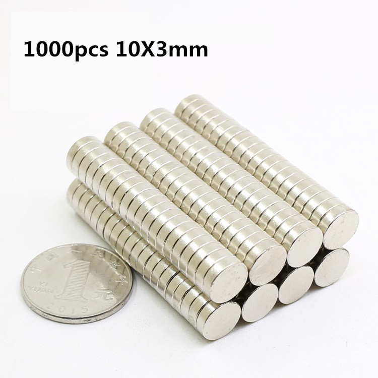 1000 pcs 10mm x 3mm Forte Cylindre Rond Magnets 10X3 Rare Earth Néodyme NEW Art Artisanat connexion en gros