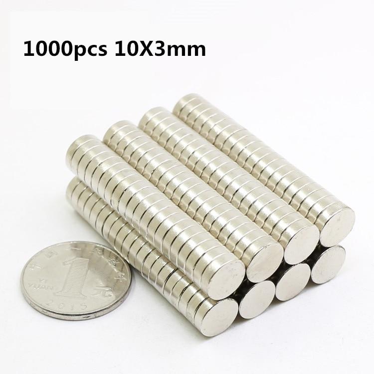 1000 pcs 10mm x 3mm Forte Cylindre Rond Magnets 10X3 Rare Earth Néodyme NEW Art Artisanat connexion en gros