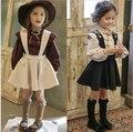 2 ps de los niños 2017 muchachas del verano del bebé juegos de ropa princess sweet bordar traje traje del partido del vestido vestido de los cabritos