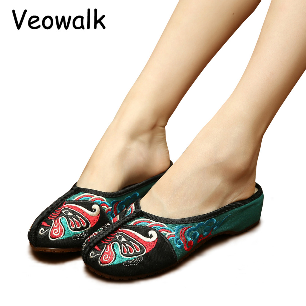 Veowalk Handmade Opera Embroidery Women Summer Shoes Fashion Women Old Beijing Home Slippers Casual Soft Shoes Mujer Plus Size 3