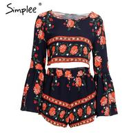 Simplee Apparel Boho Print Beach Elegant Jumpsuit Romper Summer Style Backless Sexy Playsuit Women Two Piece