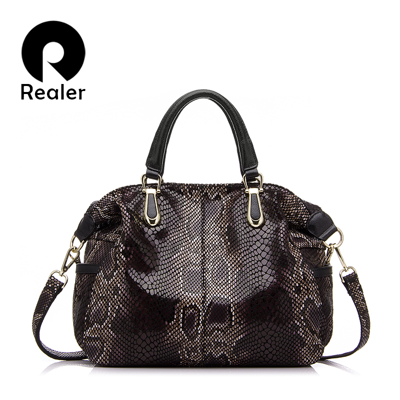 REALER genuine leather women handbags totes female fashion serpentine prints boston bag large shoulder crossbody bag