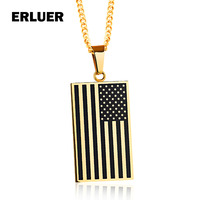 ERLUER US Flag Necklaces Pendants Gold Color Silver Stainless Steel USA American Chain For Men Women