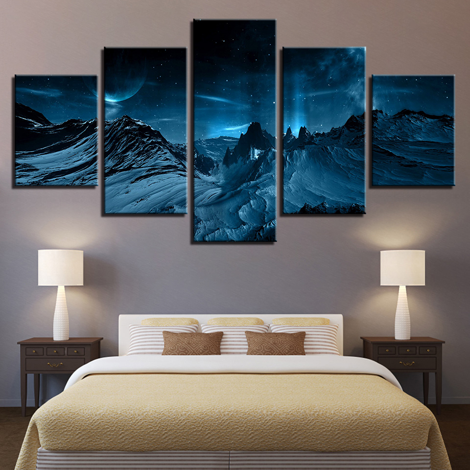 5 panels Full moon Mountain Starry sky Wall Picture home decor Canvas painting Wall art print canvas painting Pictures print no frame canvas