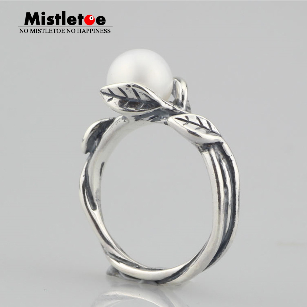 Genuine 925 Sterling SilverLeaves With Pearl Troll Ring Jewelry Flowers Ring insight топ женский insight dusty sage green