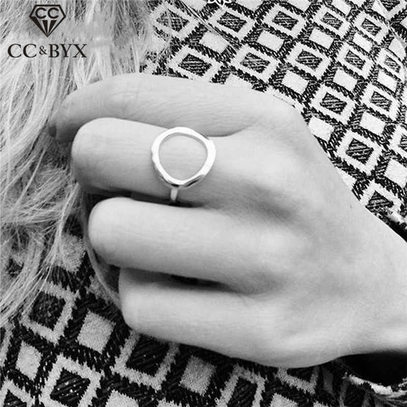 CC Stainless Steel Rings For Women Vintage Simple Circle Finger Ring Fashion Jewelry Office Lady Accessories Party Drop shipping