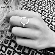 Anillos de acero inoxidable CC para mujer, anillo de dedo circular Simple Vintage, joyería de moda, accesorios de oficina para mujer, envío directo de fiesta