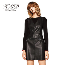 KMD KOMODA Women Dress Deep V Neck Sleeveless Zipper Back Mini Dress Solid Black High Waist Casual PU Sexy Bodycon Dress