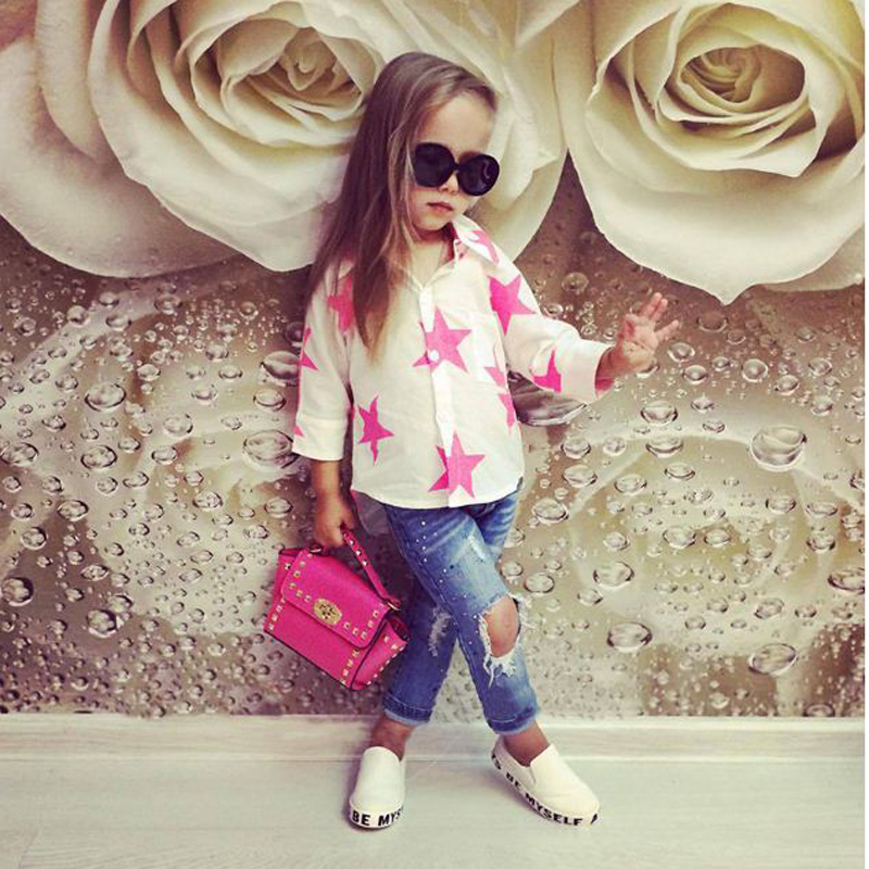 fashion kid girls T-shirt Top stat+children broken hole pants 2 piece Outfit Set 2018 baby girl clothing set for 0-6Y