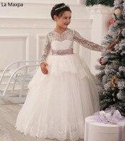Длинные рукава Кружевное белое платье для танцев детское красивое свадебное платье для девочек ручной работы милые Платья для праздников и