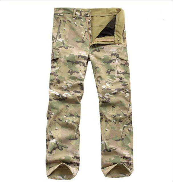 TAD Shark Skin Army Pants Waterproof Windproof Outdoors CS Camouflage Pants Men Fleece Trousers Military