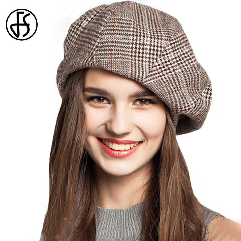 bf8b06625bfd57 FS French Artist Beret Hat For Women Female Winter Fashion Black Blue Brown  Plaid Wool Thick