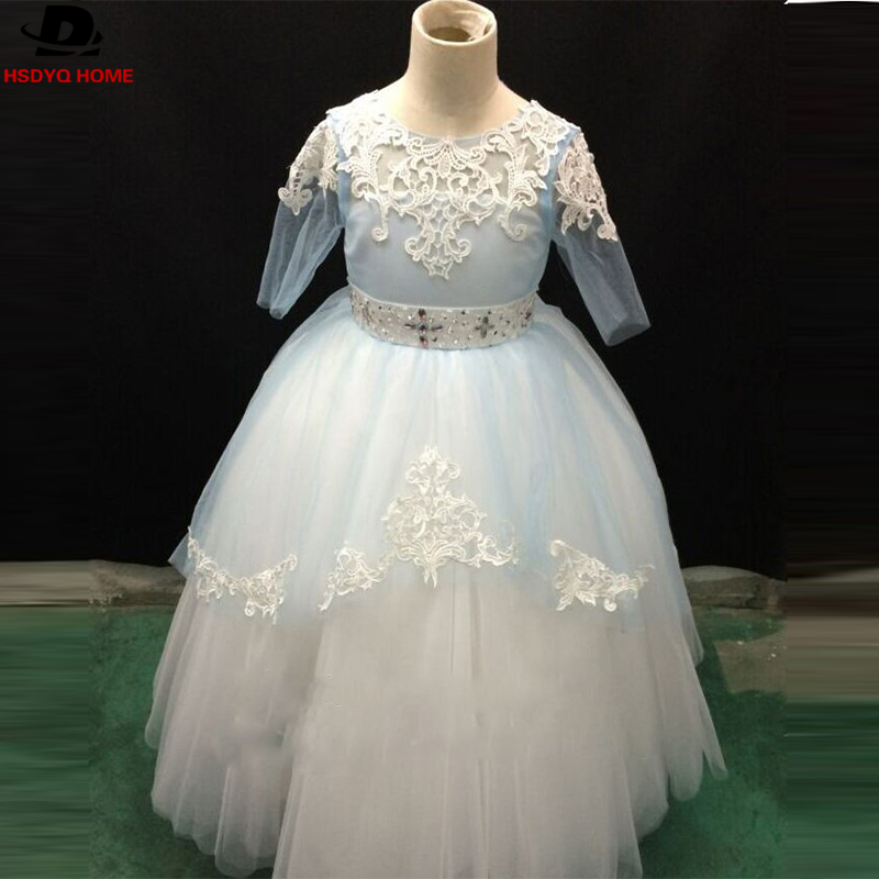 Ready to shop Flower Girls Vestidos Baby Blue Kids Party Dresses Girls Real Photo Princess Flower Girl Dress High Quality
