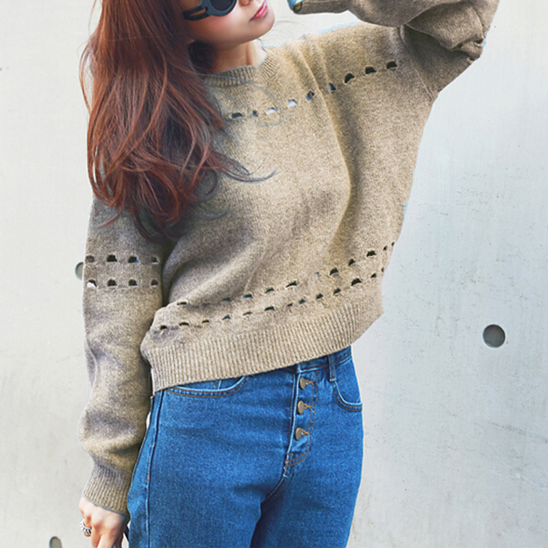 2018 steetwear style Women Casual Sexy Casual sweater New Fashion Long Sleeve round neck back lace-up Solid Color Tops Sweater