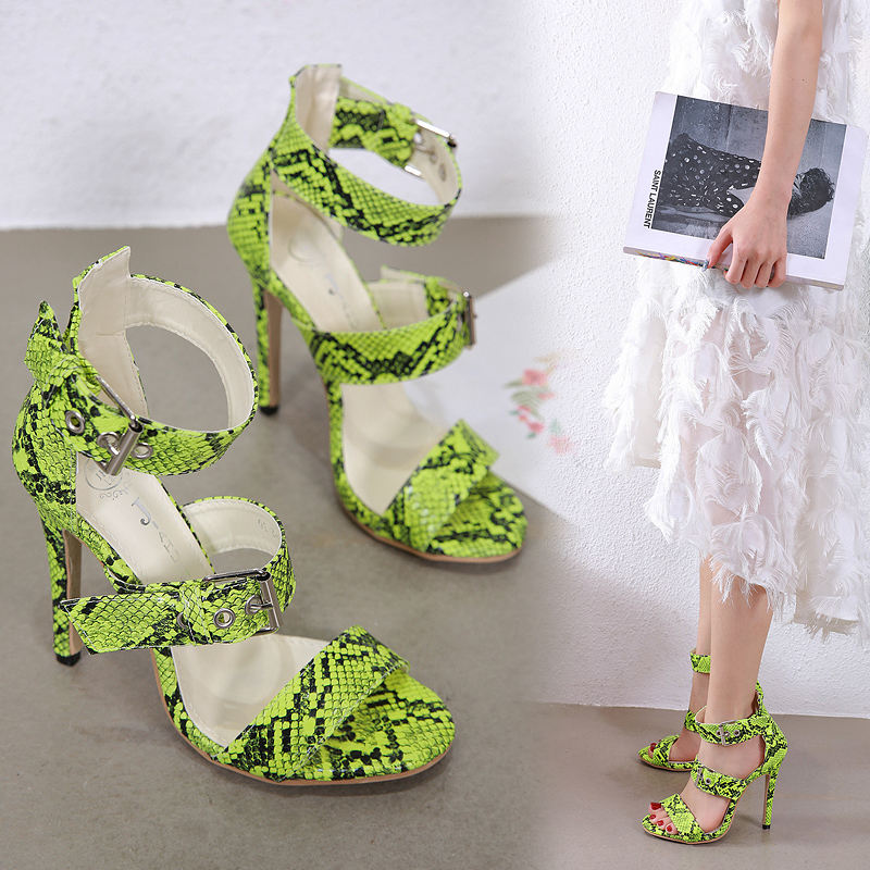 Liren 2019 Summer Fashion Sexy Snake Pattern Gladiator Sandals Women Mixed Colors Buckle Crazy Style Party Shoes