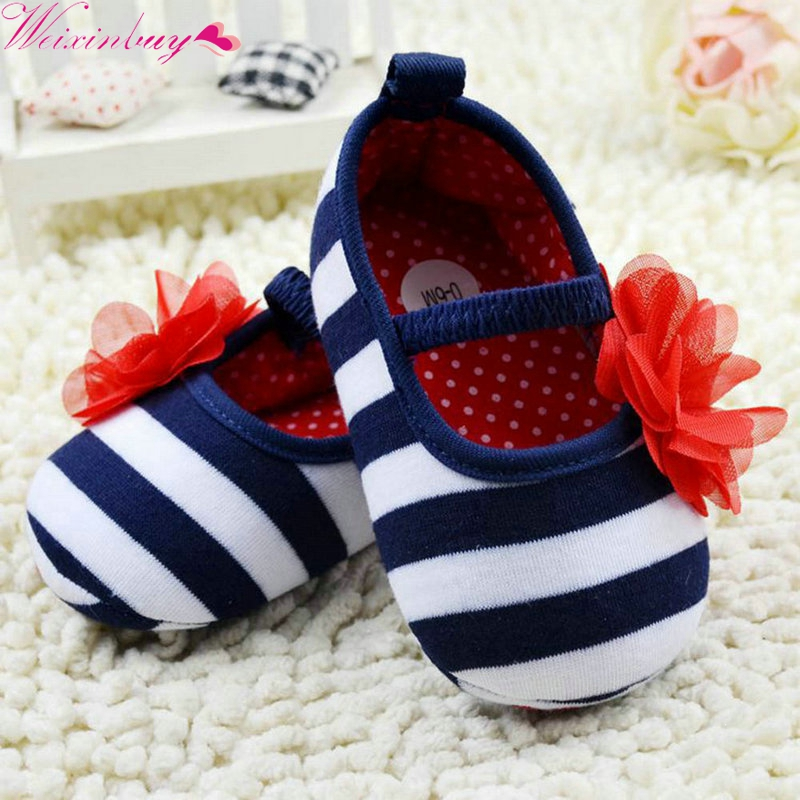 Newborn Baby Girls Infant Toddler Cute Stripe Flower Crib First Walkers Shoes Soft Sole Kid Girls Baby Spring Shoes Prewalker