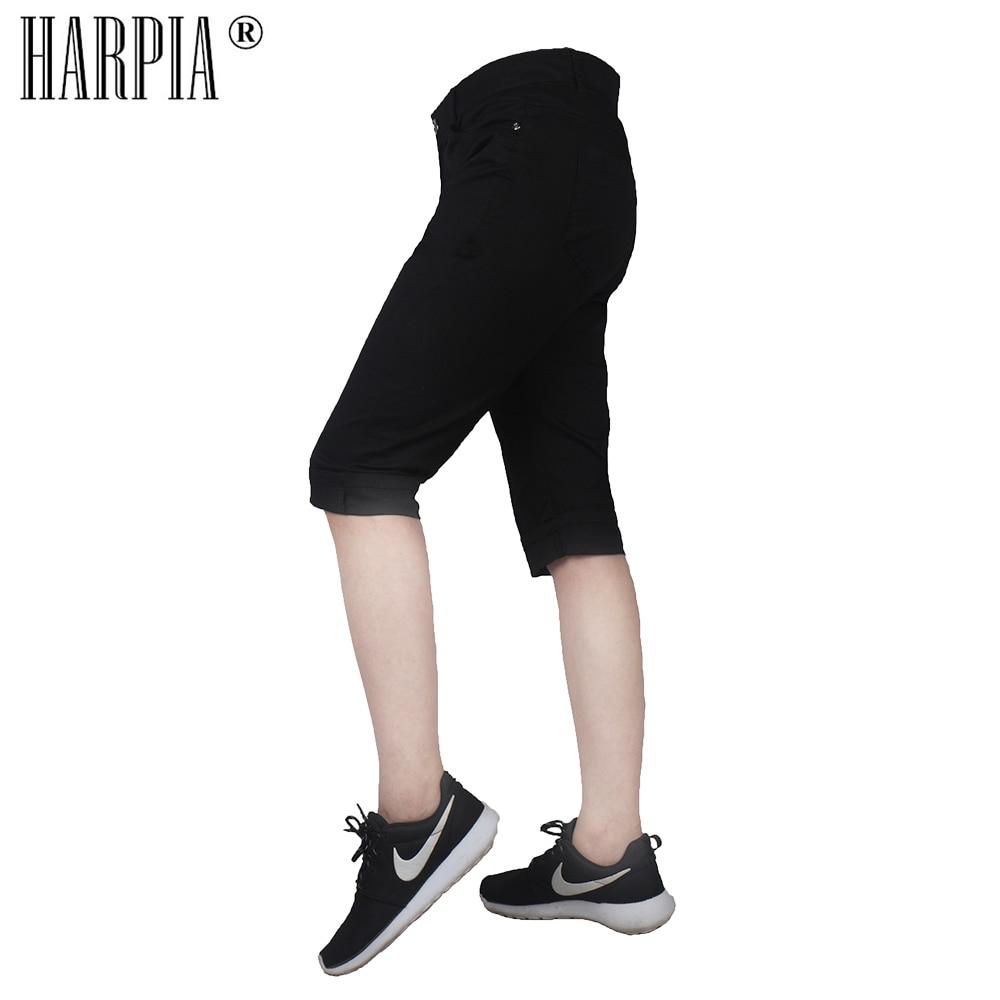Harpia new Oversized women's slim short breeches female Cotton knee length   pants   Middle trouser womens casual   Capris   Pencil   Pant