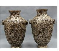 9 Tibet Silver Buddhism Folk Fly 9 Dragon Head Statue Marked Pot Vase Pair Vase decoration bronze factory