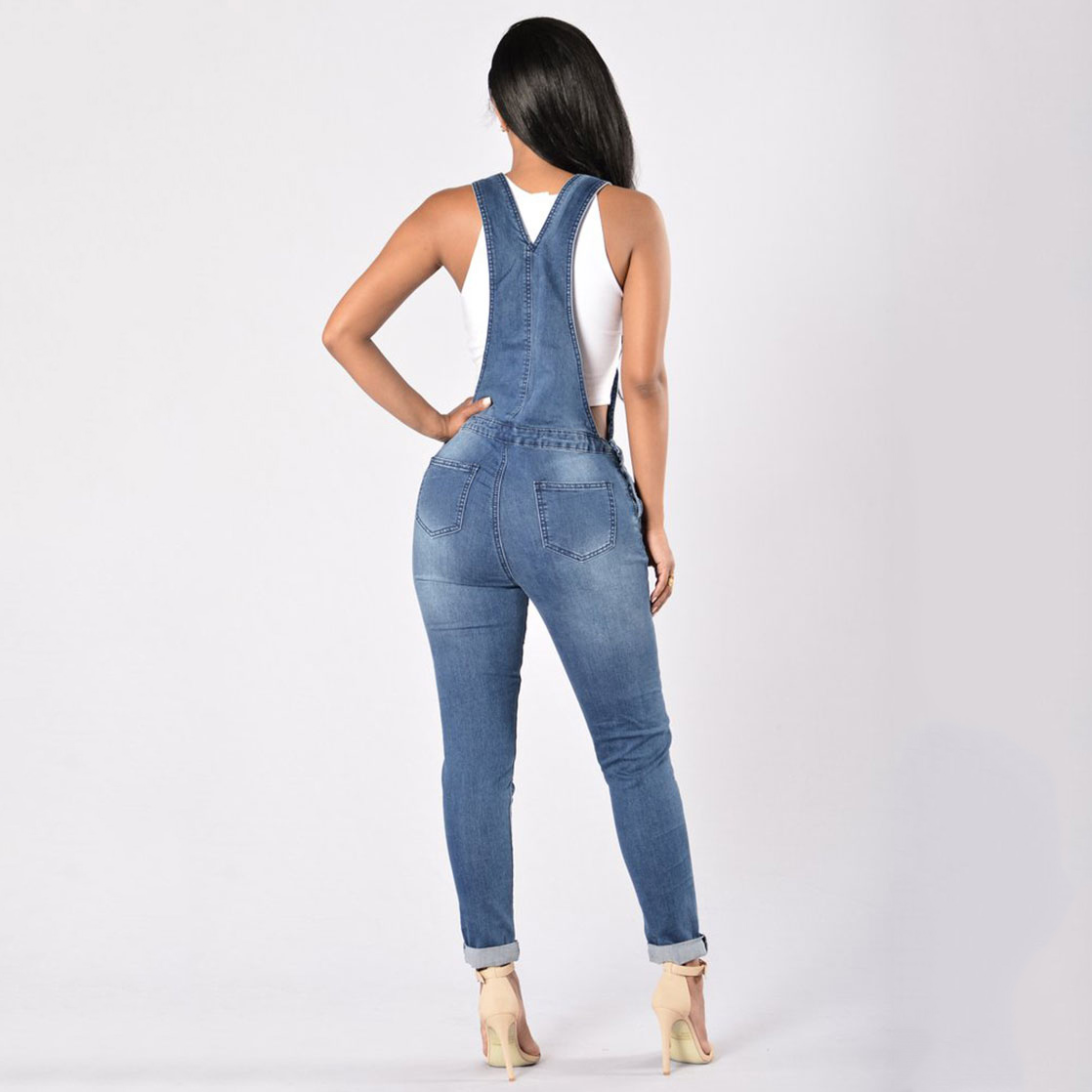 ceb26cb40e89 Hot New 2018 Women Ripped Denim Jumpsuits Women s Overalls Casual Sexy  Romper Plus Size Ladies Blue Denim Jeans Jumpsuit-in Jeans from Women s  Clothing on ...