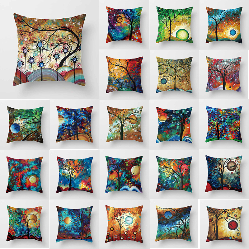 Beauty fashion water color trees Pillow case creative photos tree square pillow cover size 45 45