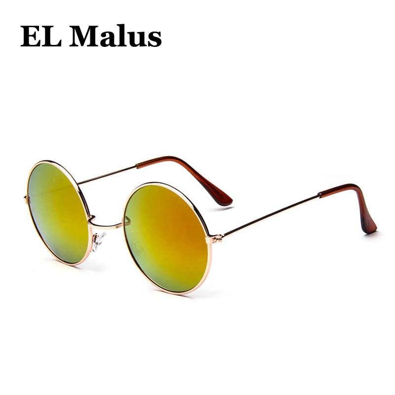 fa60c95acd ...  EL Malus Round Frame Sunglasses Men Women Retro Vintage Gold Black Lens  Sun Glasses ...