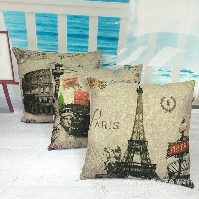 Beautiful Architecture Pattern Pillowcase Cushion Cover Pillow Case For Sofa Home Decor F