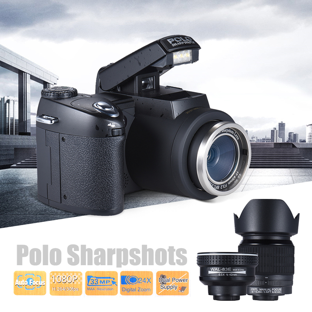 Sharpshots Auto Focus Digital Camera 33MP 1080P 30fps FHD 8X w/ Standard + 0.5X Wide Angle + 24X Telephoto Long Lens PC Cam