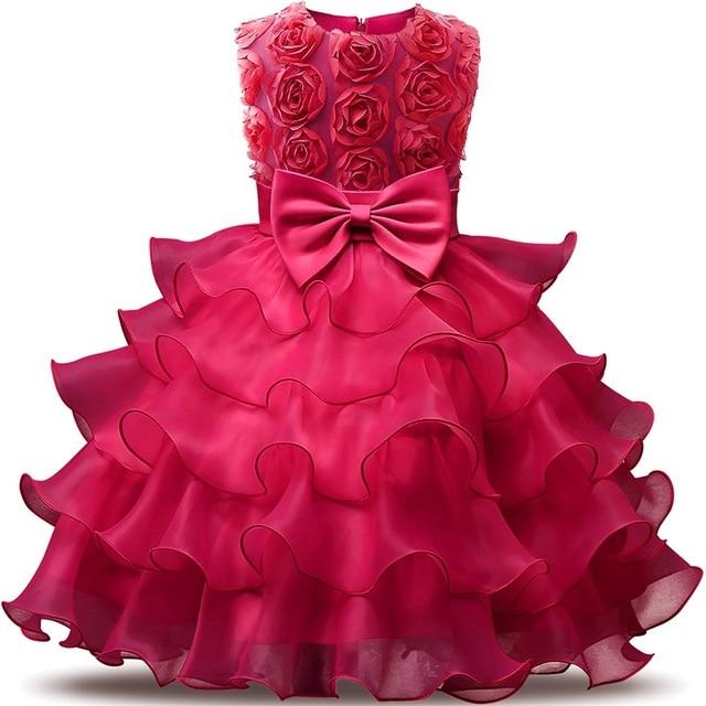 ילדה שמלת 2018 שרוולים ילד שמלות בגדי בנות מסיבת נסיכת Vestidos נינה 5 6 7 8 שנה יום הולדת שמלת חג המולד טבילה