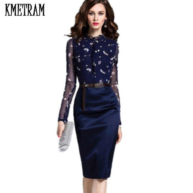1b4278901720c Panie sukienki siatki z długim rękawem sukienka luksusowa ubrania kobiety  Bodycon niebieski kwiat sukienka pani urząd