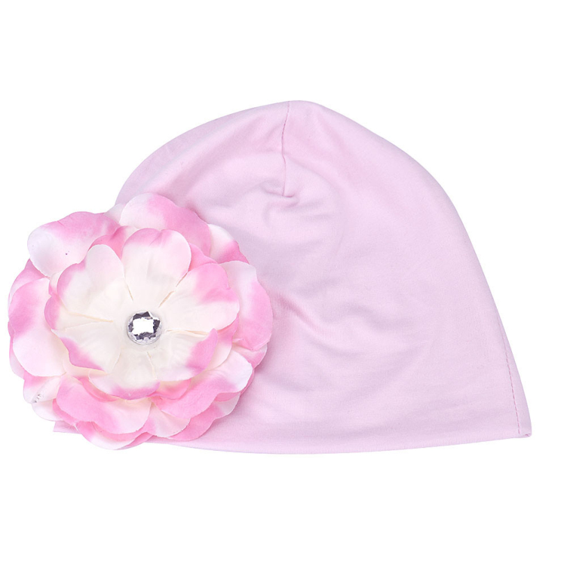 New brand 2015 Beanies cap winter autumn Kids girls Flower Hats Baby hat White Pink brand new autumn winter flower women