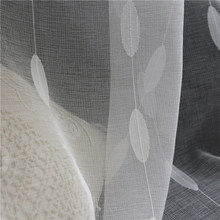White Plants Printed Tulle