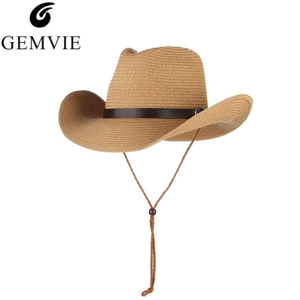 186648183d452 Detail Feedback Questions about GEMVIE Straw Sun Hats For Women Wide Brim  Straw Woven Beach Hat With PU Belt Classical Men Cowboy Hat With Non slip  Rope on ...